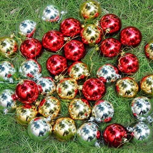 36 Pack Christmas Baubles Xmas Tree Decorations Silver Gold Red  Size Big Diameter 60mm 0 0