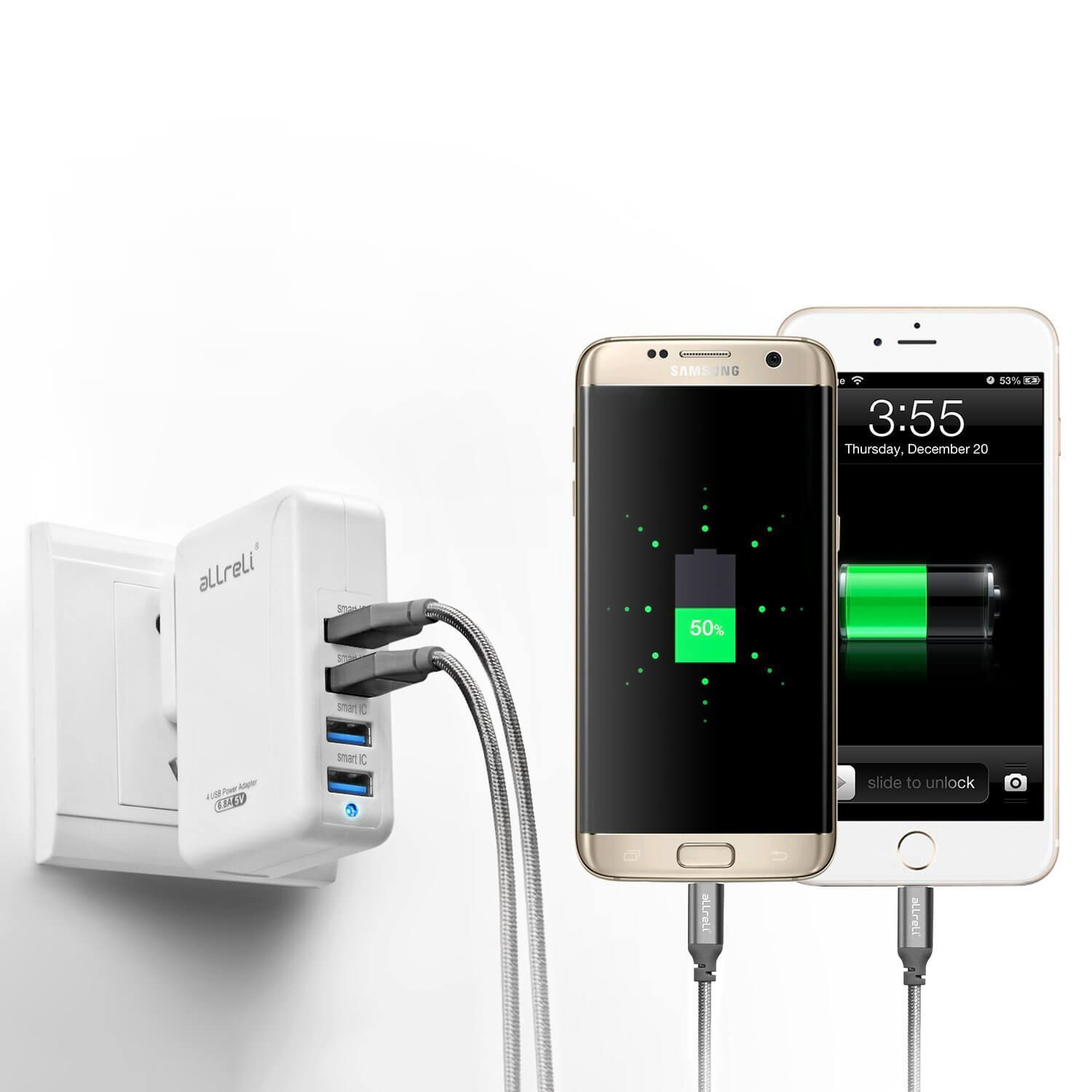 allreli 34w 6 8 a 4 port usb wall charger power adapter. Black Bedroom Furniture Sets. Home Design Ideas