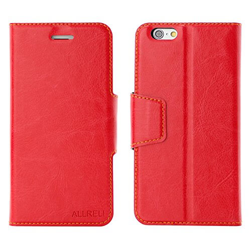 Iphone 6 6s wallet case leather cover red allreli technology