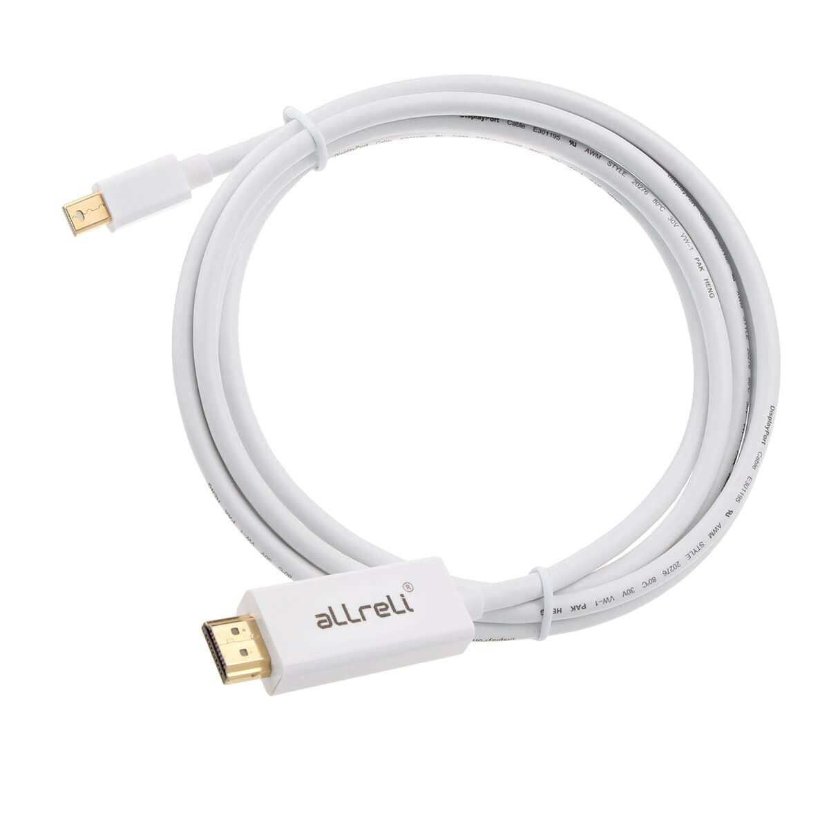 allreli 1 8m mini display port dp to hdmi cable adapter allreli technology. Black Bedroom Furniture Sets. Home Design Ideas