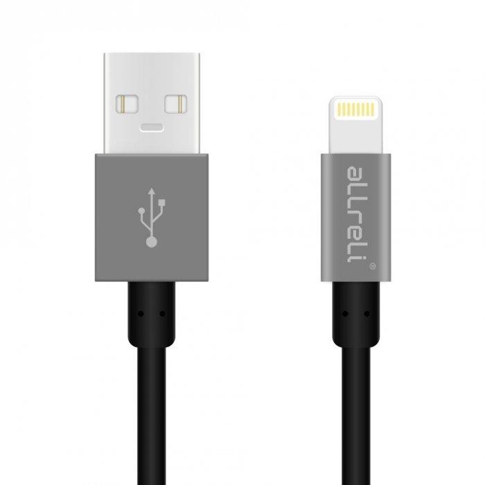 aLLreLi SLIM FIT SERIES MFI Certified Lightning to USB Cable Black