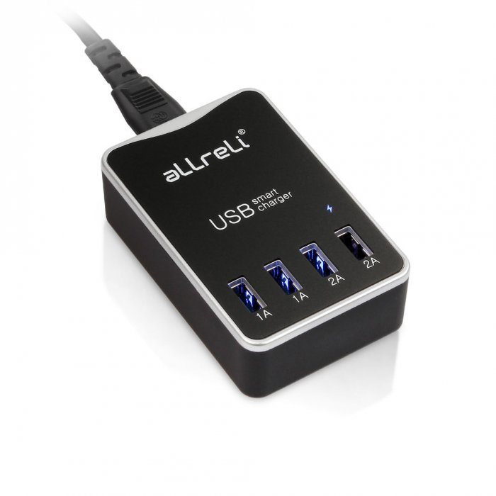 4 Port Dual Sided USB Charger Black 1