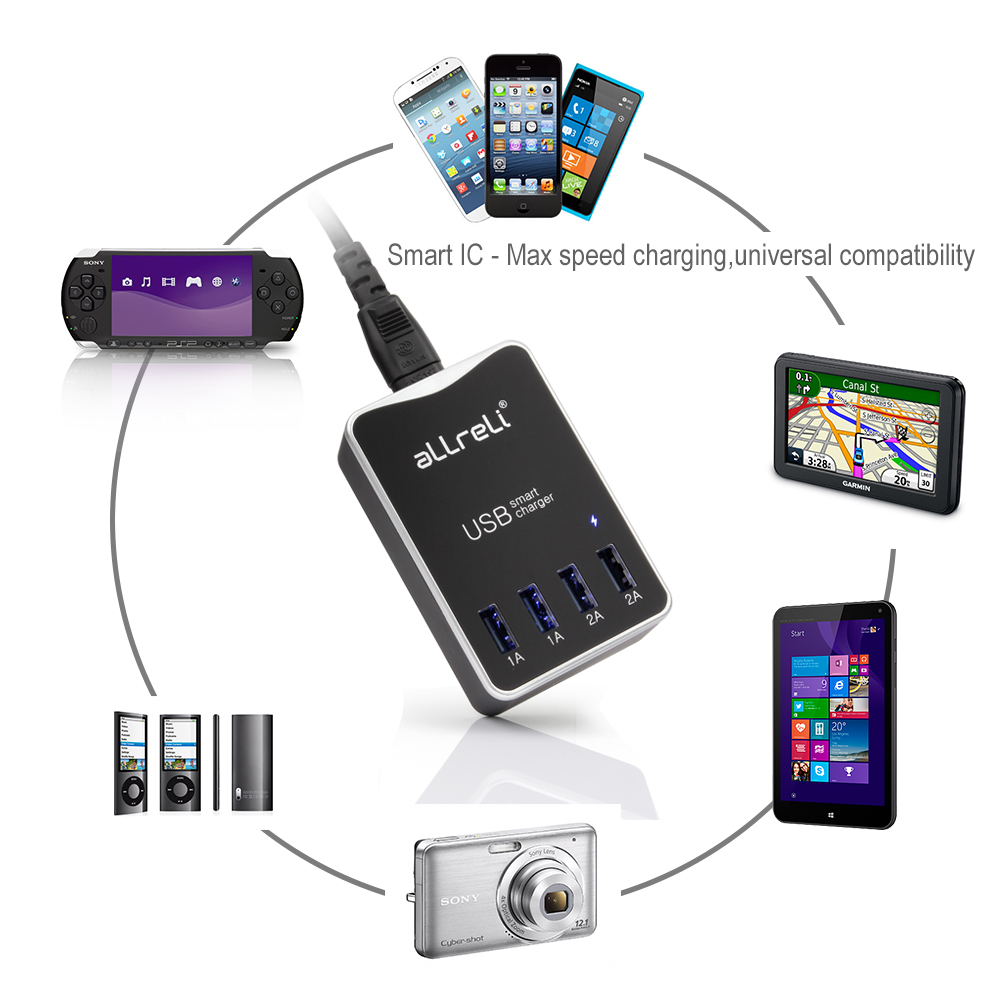 4 Port Dual Sided USB Charger Black 6