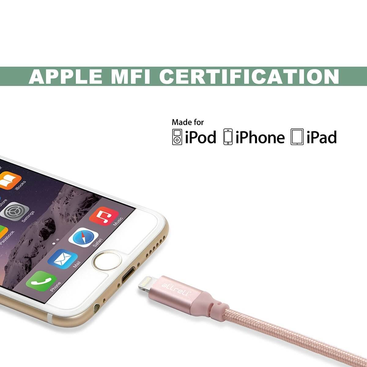 allreli apple iphone charger usb cable nylon braide for