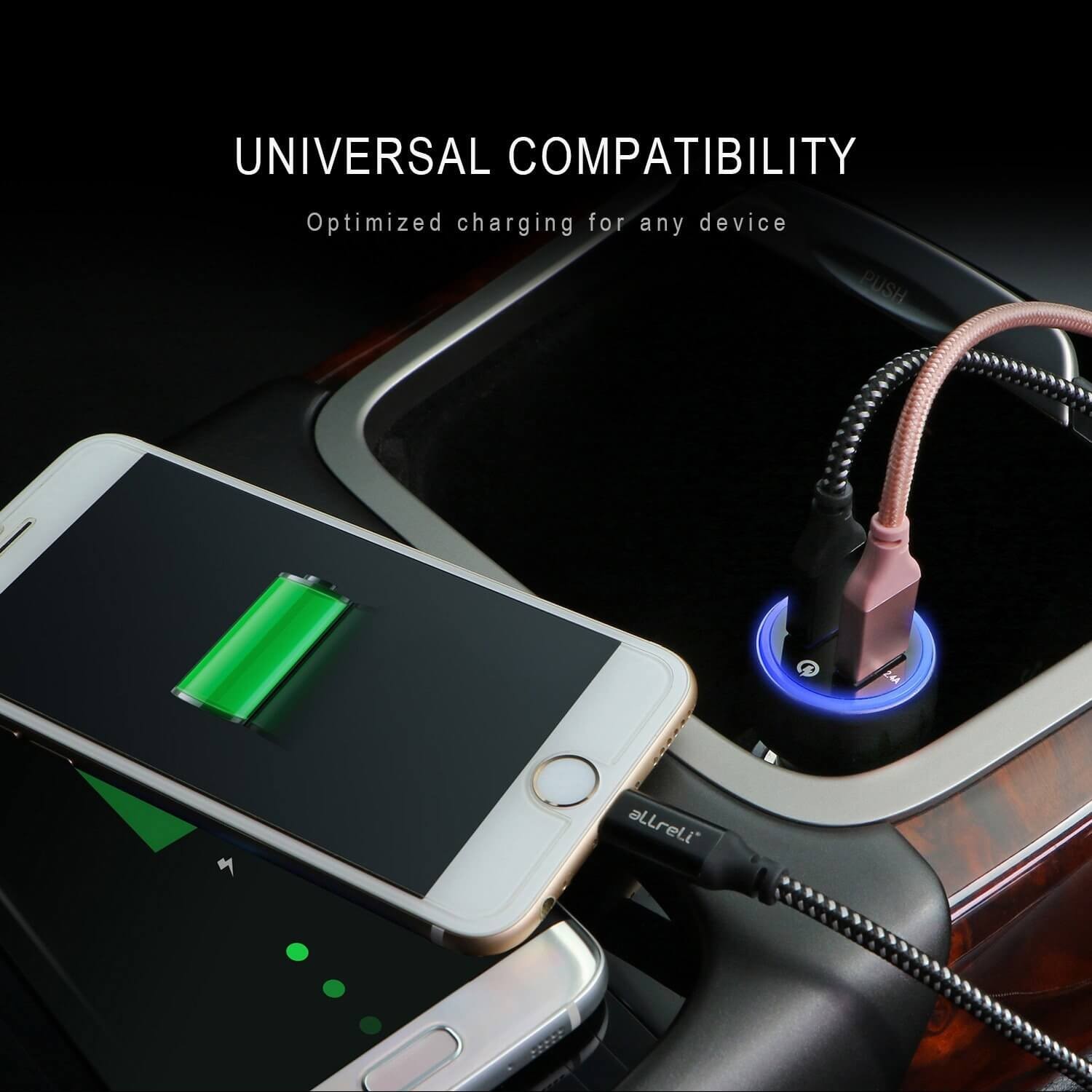 aLLreLi 30W Dual USB Car Charger with Smart IC Tech (Built-in Safety Protection) for Smartphone ...
